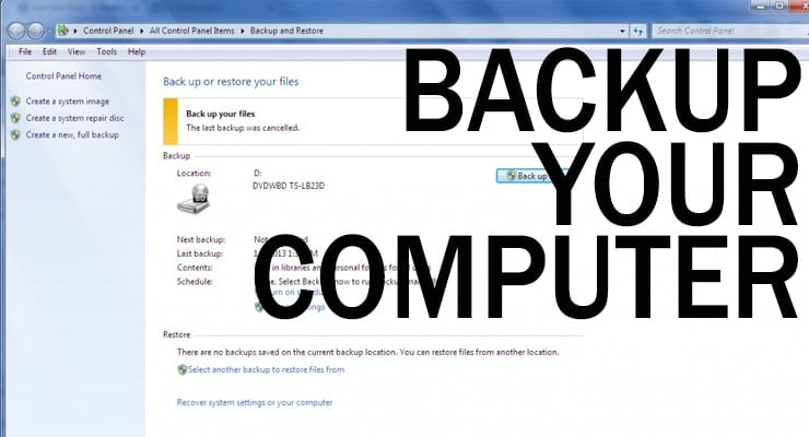 Your New Year's Resolution:  Backup Your Computer
