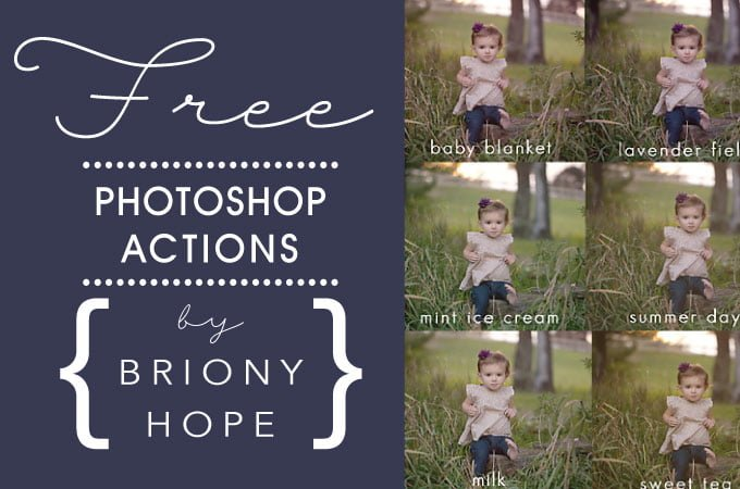 Free Photoshop Action Set from Briony Hope Photography